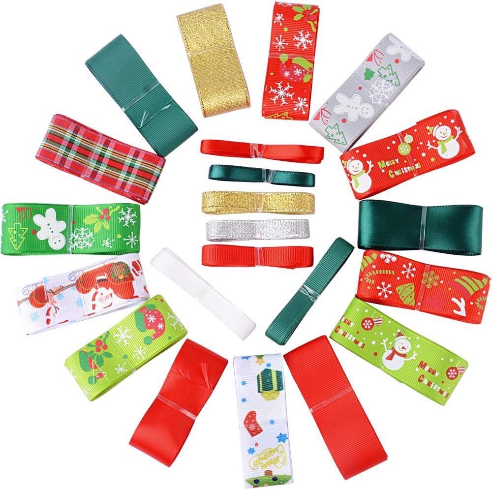 22 Rollos 22metros Cintas Navidad Tela Decoración Manualidades Cintas Lazos Embalaje Regalo Cajas Flores Arbol Navidad Fiestas Casa Roja Dorada Verde Blanco