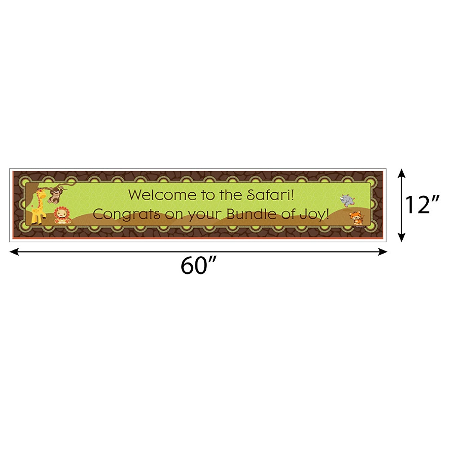 Amazon.com: Big Dot of Happiness Funfari - Fun Safari Jungle - Baby Shower Decorations Party Banner: Toys & Games