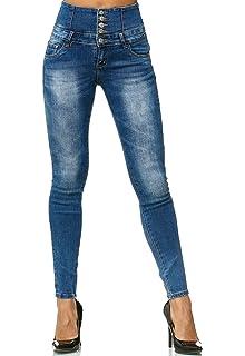 ArizonaShopping Damen Jeans Hose High Waist Röhre Corsagen Skinny D2547 d7ec76cf28
