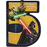 Hallmark Star Wars 5th Birthday Card, 5th Birthday-Darth Vader Yoda - Large