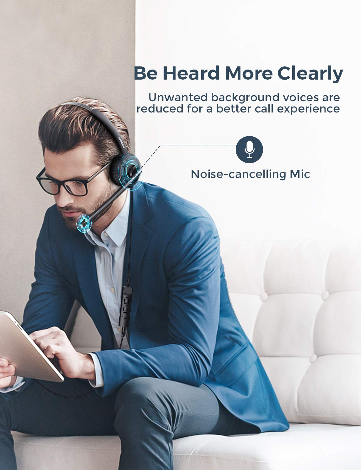 Over-The-Head Computer Headphone for PC Comfort-fit Call Center Headsets with in-Cord Volume Control Mpow Single-Sided USB Headset with Microphone 270 Degree Boom Mic for Right//Left Ear