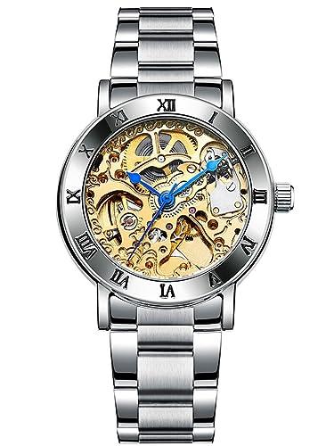 Alienwork Reloj Mecánico Automático Relojes Automáticos Mujer Hombre Acero Inoxidable Plata Analógicos Unisex Oro Impermeable Esqueleto: Amazon.es: Relojes
