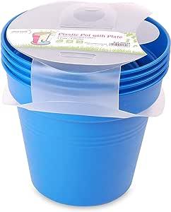 وعاء زرع بلاستيك بالطبق من مينترا، 19سم، عبوة 4، أزرق فاتح