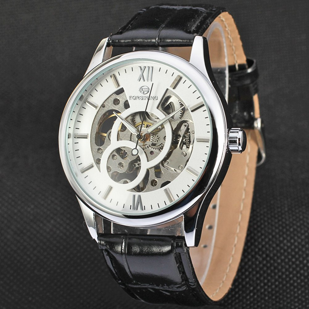 Amazon.com: FORSINING Hollow Design Leather Skeleton Watch Men Business Automatic Mechanical Wrist Luxury Watches: Watches