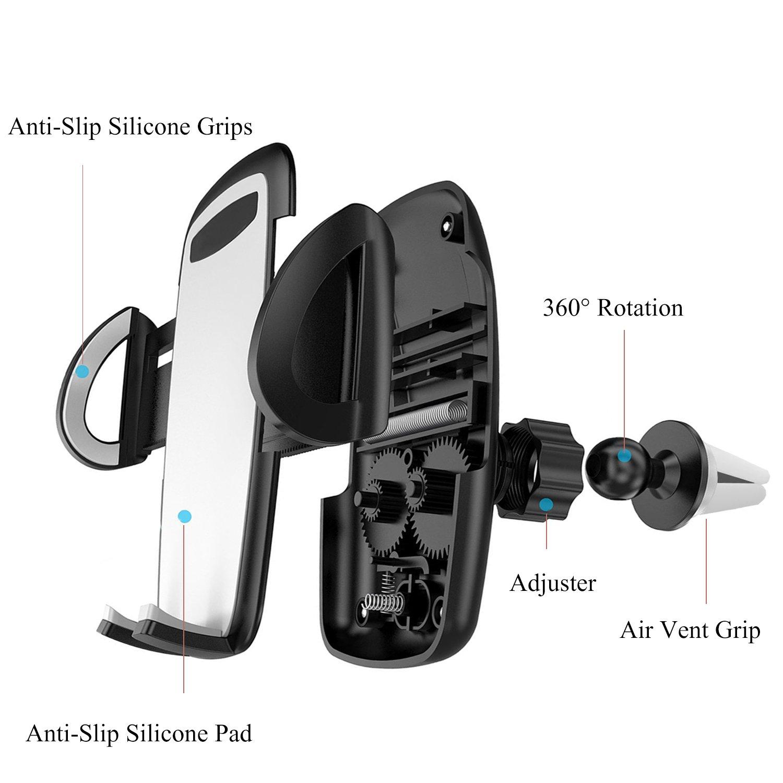 iAmotus Soporte de Coche para tel/éfono m/óvil con Rejilla de ventilaci/ón de 360/° Ajustable para iPhone X 8 7 6S Plus 5S Samsung Galaxy S8 S7 S6 Edge Nexus y Smartphones con Dispositivo GPS