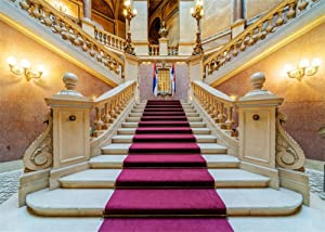Leowefowa 12X8FT Luxurious European Palace Backdrop Castle Elegant Stair Red Carpet Interior Backdrops for Photography Lover Wedding Party Vinyl Photo Background Studio Props