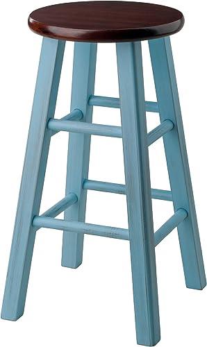 Winsome Wood Ivy model name Stool 13.4 x 13.4 x 24.2 Rustic Light Blue Walnut