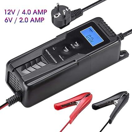 LOHOTEK 6V/12V 4A Cargador/Mantenedor de Batería con Cargador de Cepo de Cable para Batería de Ácido de Plomo Sellado Cortadoras de Césped de Barco de ...