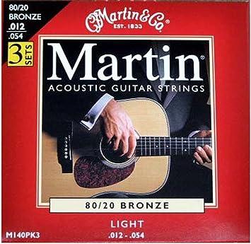 Martin M140PK3 - Juego de cuerdas para guitarra acústica de bronce.012-.054: Amazon.es: Instrumentos musicales