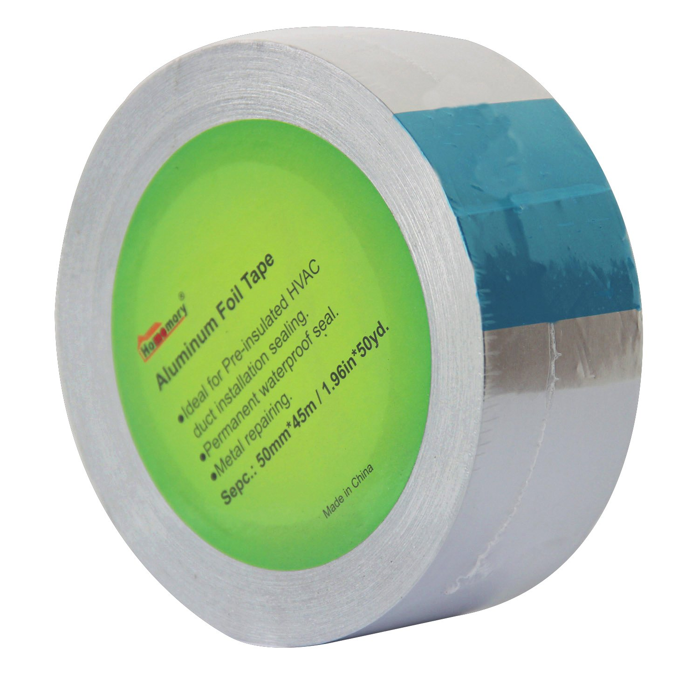homemory cinta de papel de aluminio, 50 mm x 50 m cinta de calefacció n, ventilació n, 3,2 Mil Metal trabajos de reparació n de cinta adhesiva en horno, ca conductos,color plata 50 mm x 50 m cinta de calefacción ventilación HMALUTAPE