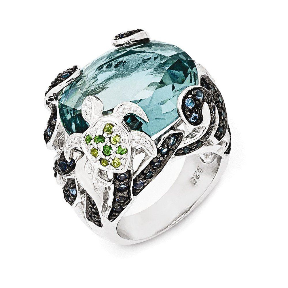 Cheryl M Sterling Silver CZ & Glass Simulated Blue Topaz Turtle Ring Size 6 by Jewelry Adviser Rings
