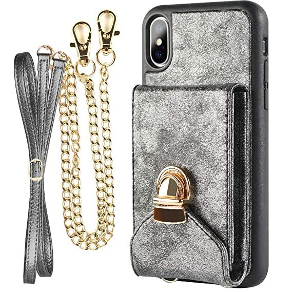 new arrival 4f8a2 7418b Crossbody Wallet Case for iPhone Xs MAX, ZVEdeng Credit Card Holder Purse  Cell Phone Case for Women for iPhone Xs MAX-Dark Gray
