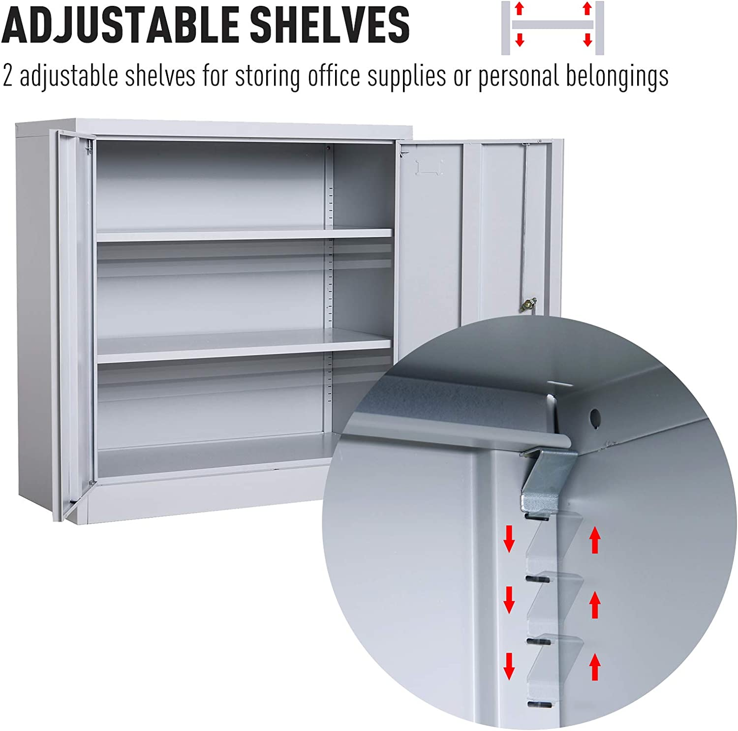 HOMCOM 36 Counter Height Metal Locking Storage Cabinet with 2 Adjustable Shelves White