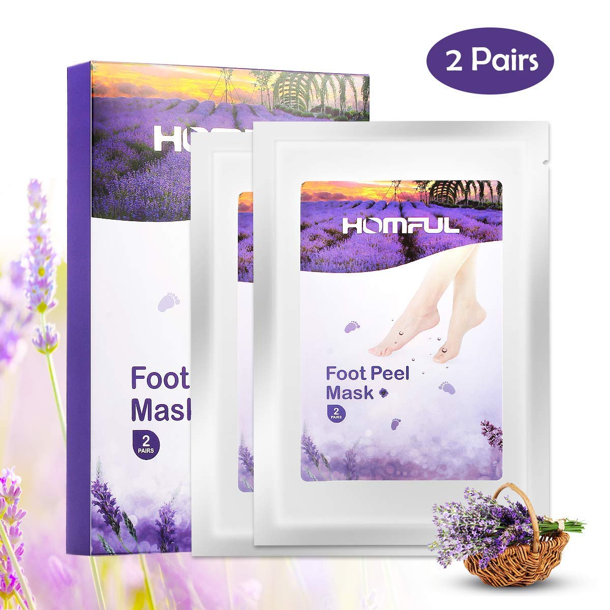 Soft Foot Exfoliation Peeling Mask, 2 Pairs of Lavender Foot Scrub Mask, Babyfoot Foot Mask Exfoliant, Exfoliates Coarse Dead Skin and Calluses in 7 days HOMFUL
