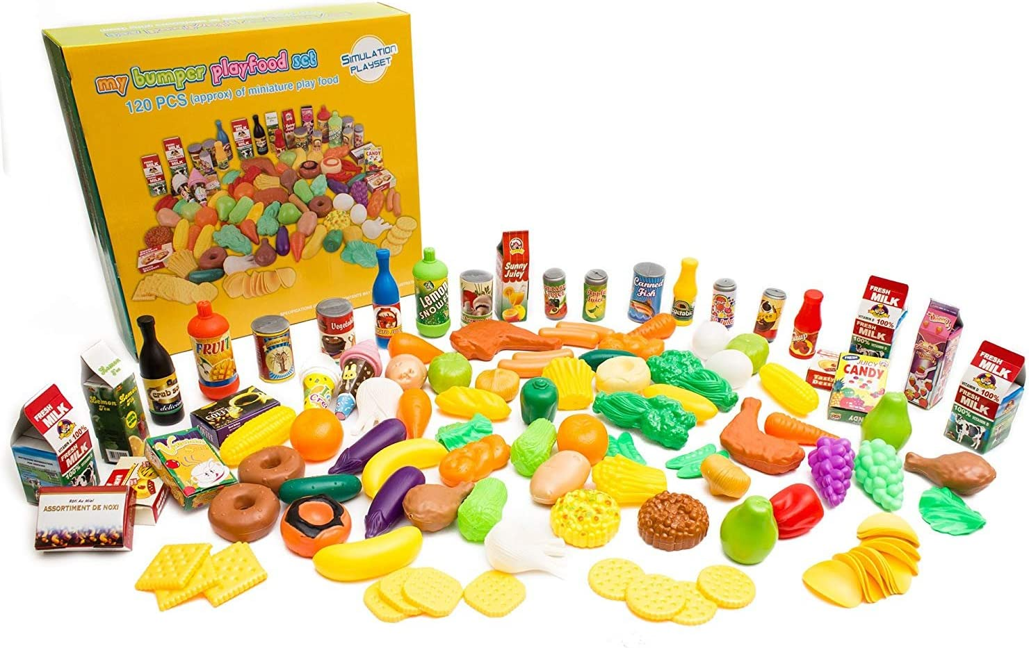 Fun Central 120 Pieces Pretend Play Food Assortment Set for Kids Kitchen Educational Toys
