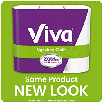 Viva Signature Cloth Choose-A-Sheet Paper Towels, Soft & Strong Kitchen Paper Towels, White, 6 Value Rolls (58 Sheetsper Roll)