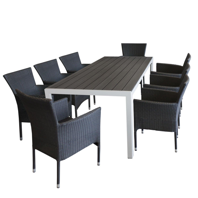 gartenm bel set aluminium gartentisch mit robuster polywoodtischplatte grau in holzoptik. Black Bedroom Furniture Sets. Home Design Ideas