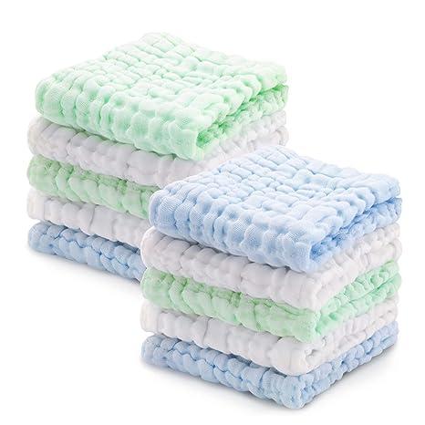 Muselina bebe algodon, Toallas suaves de muselina para bebés, varias funciones (10 paquete