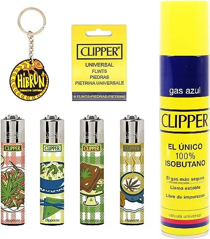 Image of Clipper 4 Mecheros Encendedores Diversos Surtidos Bonitos Baratos,1 Carga Gas Encendedor Clipper 300 Ml,9uds De Piedra Clipper Y 1 Llavero Hibron Gratis 1-10003-11