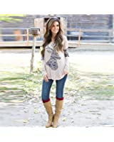 FULLIN Women Casual Elk Long Sleeve Round Neck Splice Pullover Shirt Blouse Top