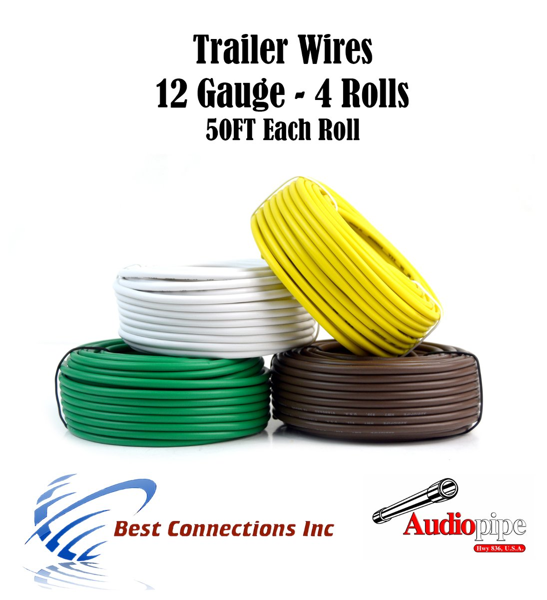 Amazon.com: 4 Way Trailer Wire Light Cable for Harness 50 FT Each ...