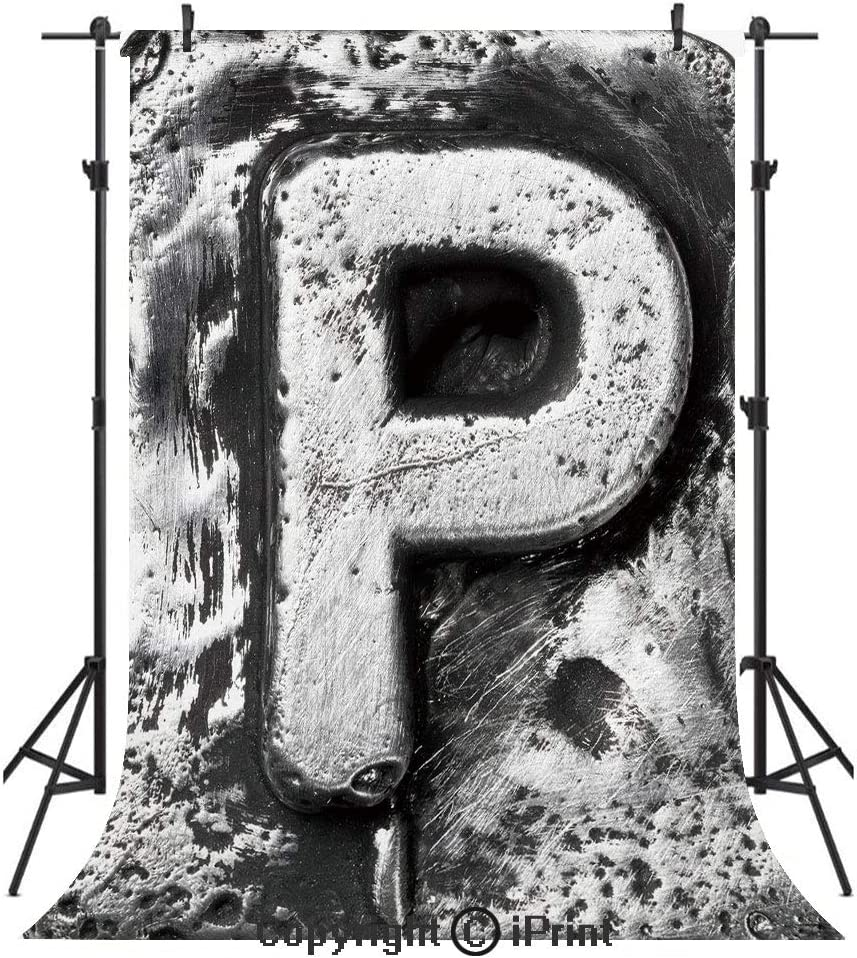 Amazon Com Letter P Photography Backdrops Capital P What Is Your Name Baroque Styled Gothic Medieval Fashion Aged Initials Birthday Party Seamless Photo Studio Booth Background Banner 5x7ft Black Grey Camera