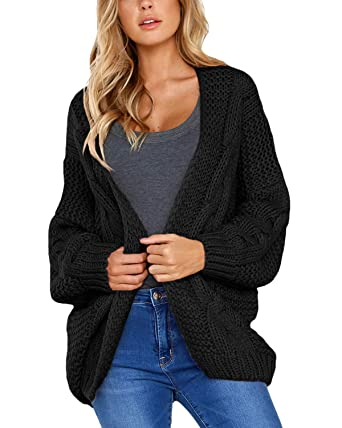 c2d16da954 Kyices Womens Open Front Long Sleeve Cardigan Chunky Cable Knit Sweater  Coat (S