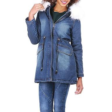 676cf4436084 La Modeuse - Parka Longue en Jean Bleu Femme  Amazon.fr  Vêtements ...