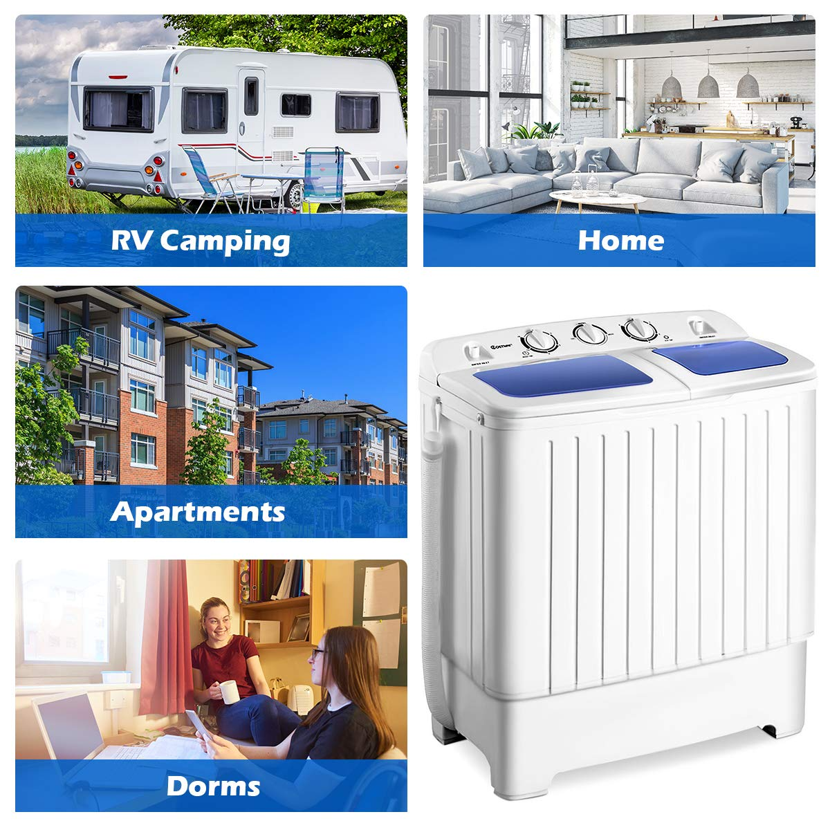 Giantex Portable Mini Compact Twin Tub Washing Machine 17 6lbs Washer Spain  Spinner Portable Washing Machine, Blue+ White