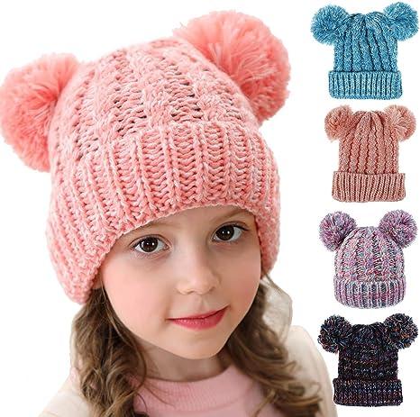 Tianhaik Gorro de Punto para niñas de 2-8 años Gorros de Invierno ...