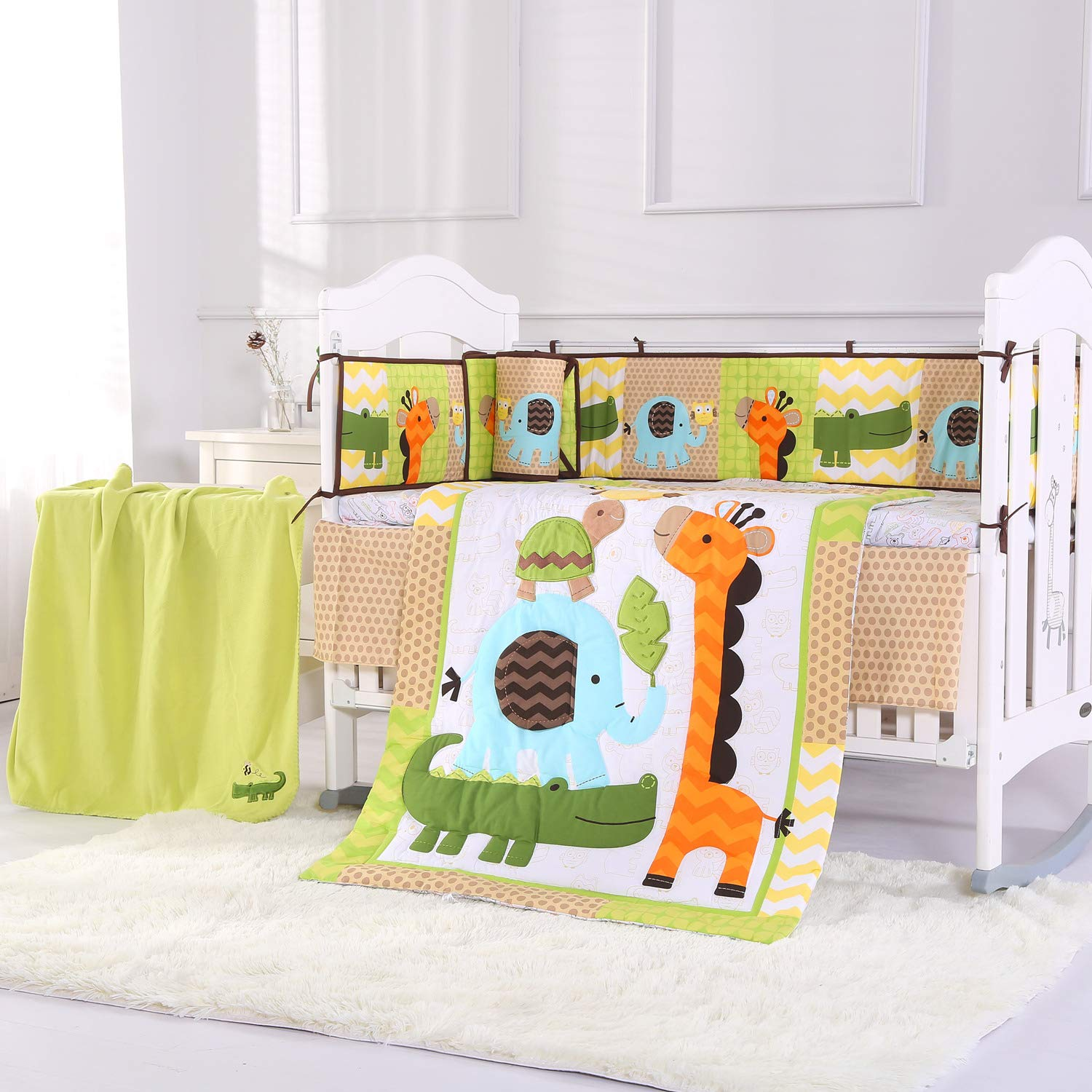 Wowelife Giraffe Nursery Bedding 100% Cotton Upgraded Blue Elephant Yellow Giraffe Green Crocodile Crib Bedding Sets 8 Piece for Baby Girls and Boys with Bumpers and Blanket(Orange Giraffe-8 Piece)