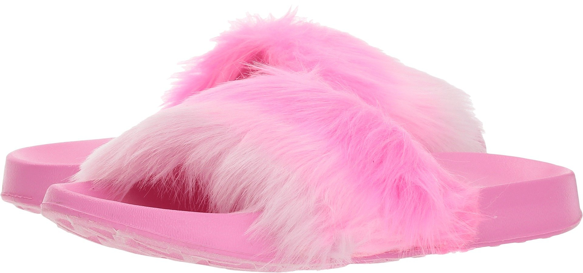Skechers Kids Girl's Faux-Fur Sunny Slides 86921L (Little Kid/Big Kid) Hot Pink 5 M US Big Kid