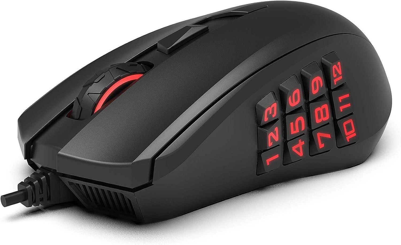 AmazonBasics Pro Gaming Mouse with 12,000 DPI Optical Sensor, 12 Programmable Buttons, Backlit RGB LED - Black
