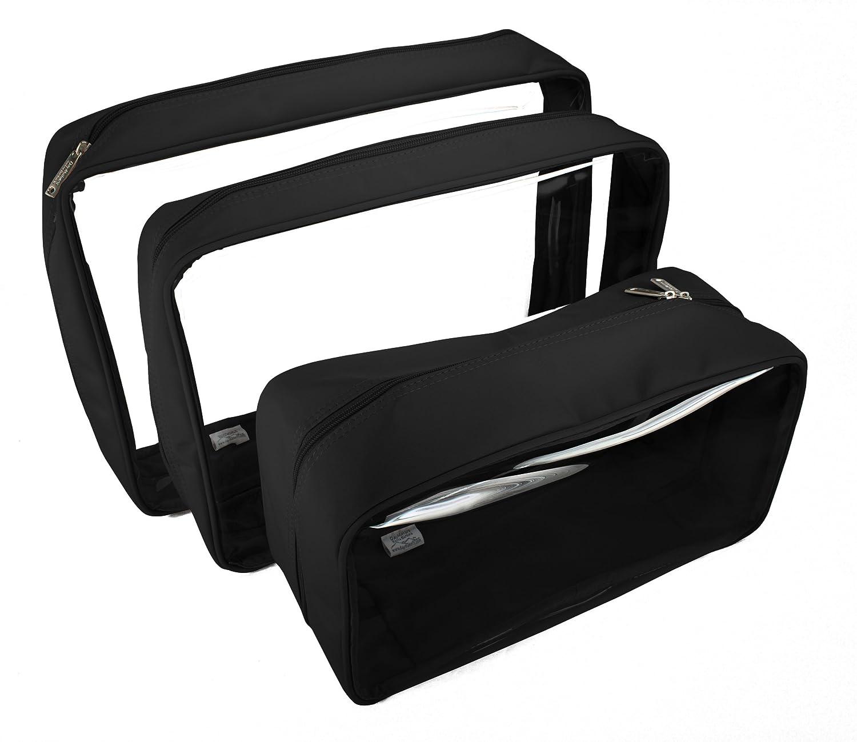 Packies Zip Top Packing Cubes Cosmetic Bags – Black – Set of 3 Microfiber – Large