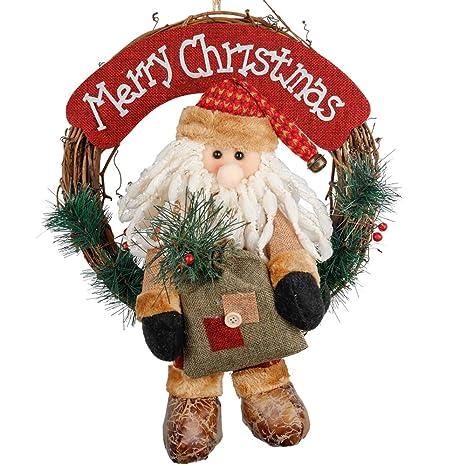 Small Christmas Wreaths.D Fantix Santa Claus Christmas Wreath 14 Inch Merry Christmas Front Door Wreaths Small Christmas Decorations Home Decor