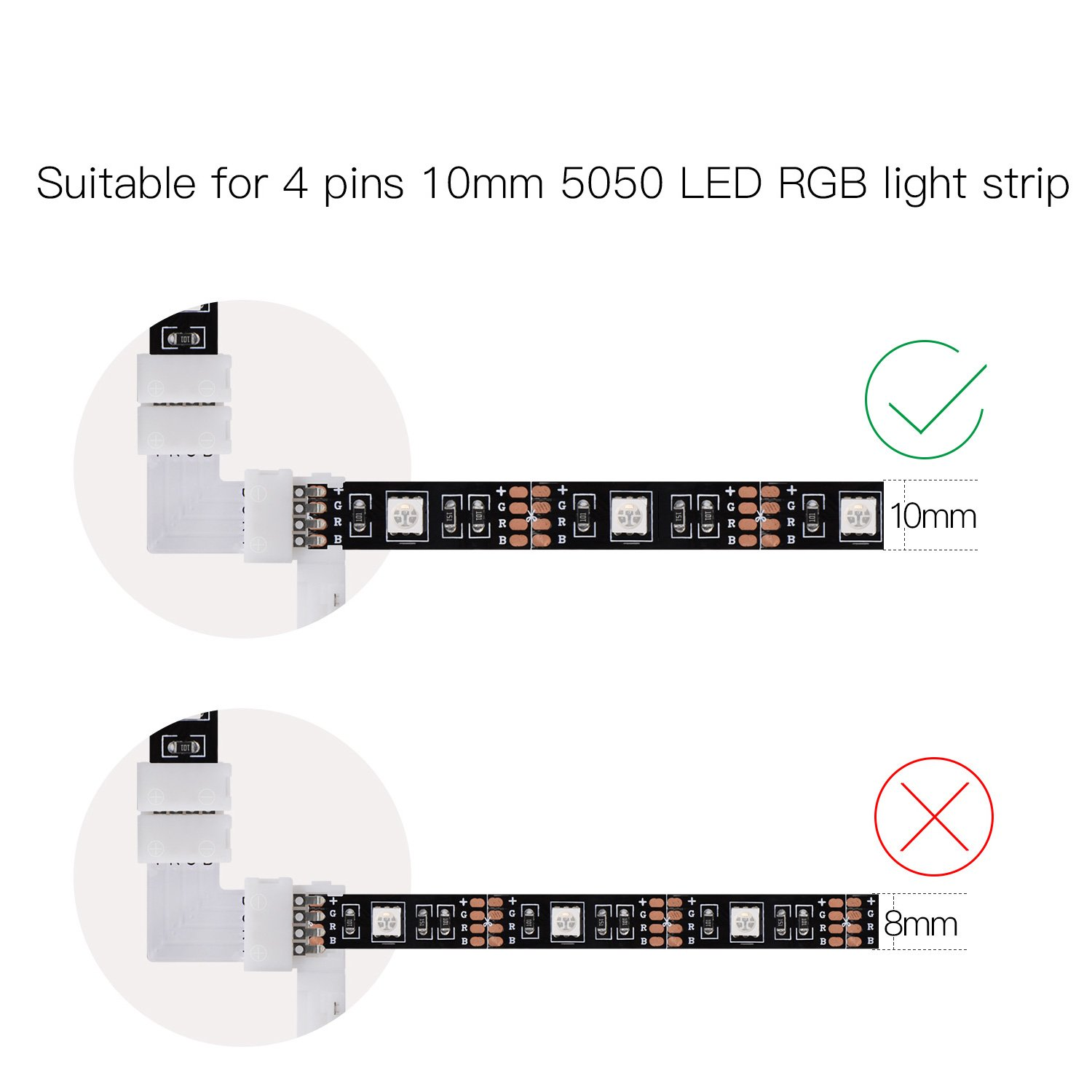 Color lines online strip game -  Connector Jackyled 10mm Non Waterproof Quick Splitter Right Angle Corner Connector 12v 72w Clip For 5050 3528 Smd Rgb 4 Conductor Led Strip Lights Strip