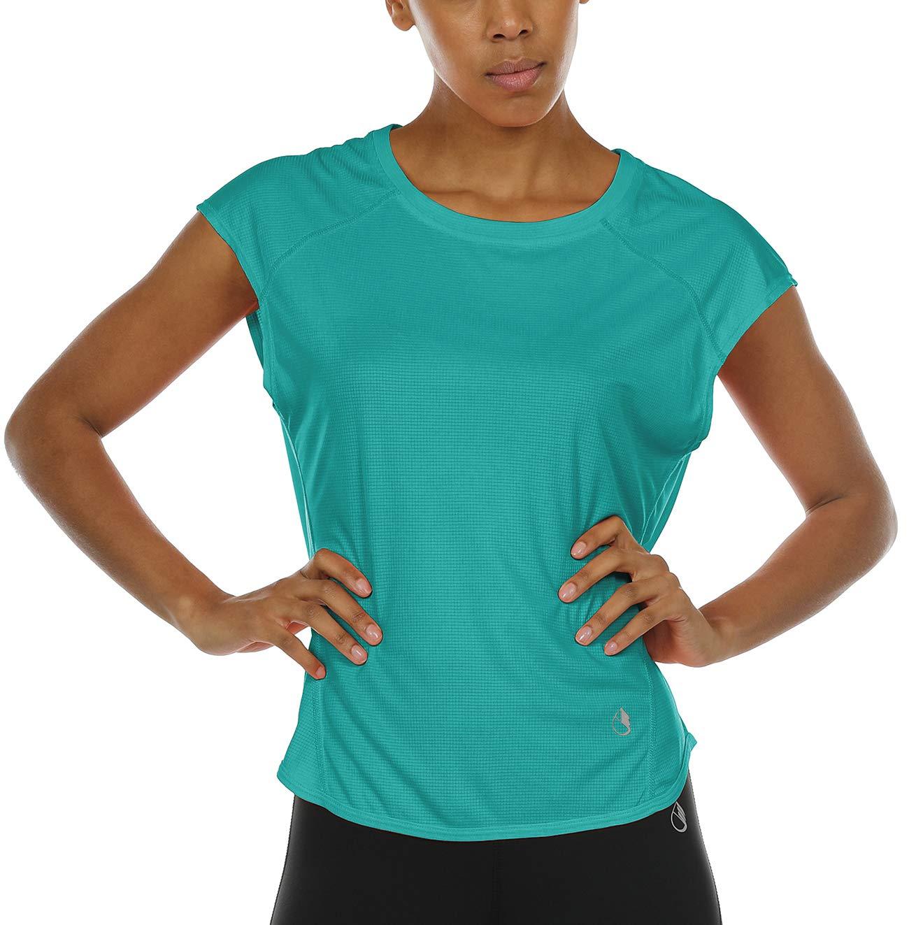 icyzone Yoga Tops Activewear Raglan Workout Tank Tops Fitness Sleeveless Shirts for Women (S, Peacock Green)