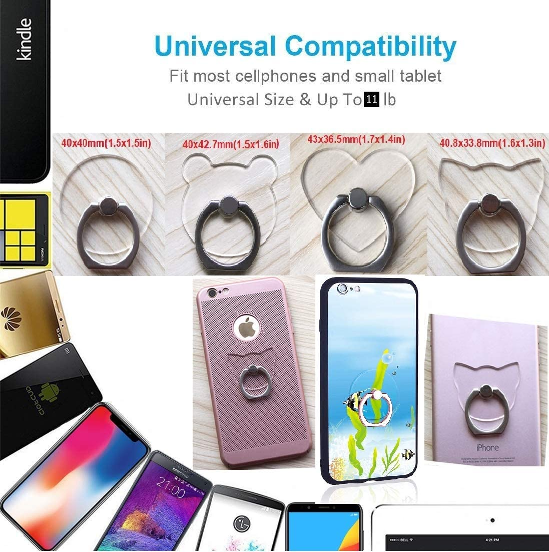 Transparent Cell Phone Ring Holder 360 Degree Rotation Phone Ring Grip Finger Ring Stand Kickstand Compatible Various Smartphones Or Phone Cases 4PCS