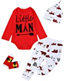 Giwawa 4PCS Christmas Outfit Set Baby Boy Little Man Romper with Socks