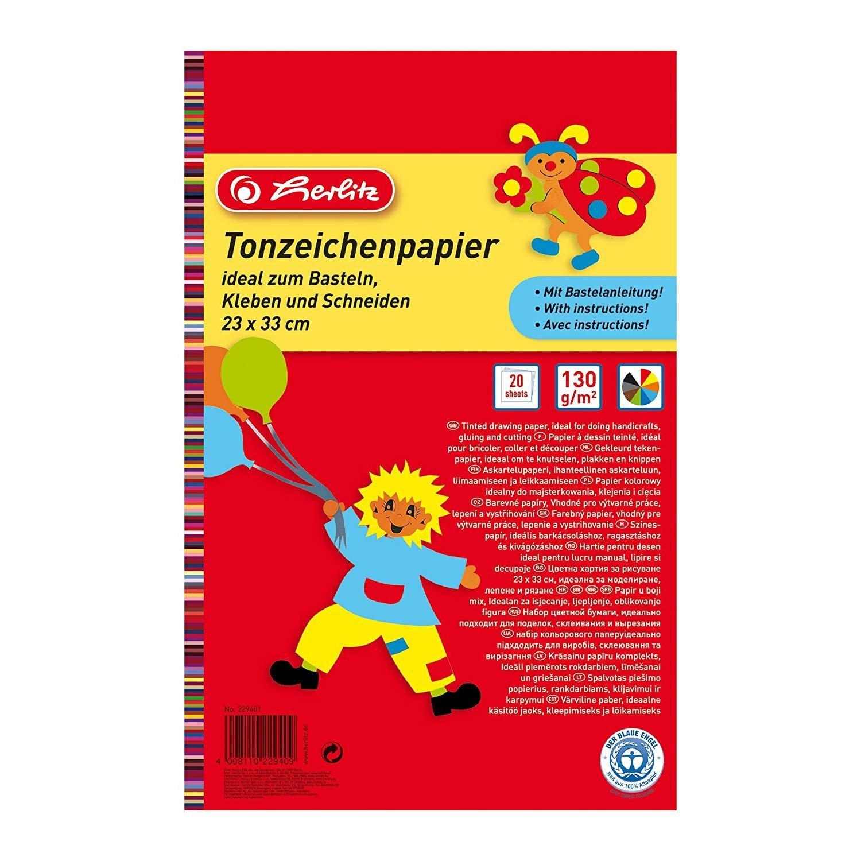 Herlitz Tonzeichenpapierblock, Recyclingkarton, 130 g/m², 23 x 33 cm, 10 verschiedene Farben 130 g/m² Herlitz Group 229401 SC-MS-229401