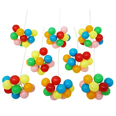 Rainbow Balloon Cluster Cake & Cupcake Decorative Topper & Pick - 8 Clusters Per Pack, 7 Inch Long: Everything Else