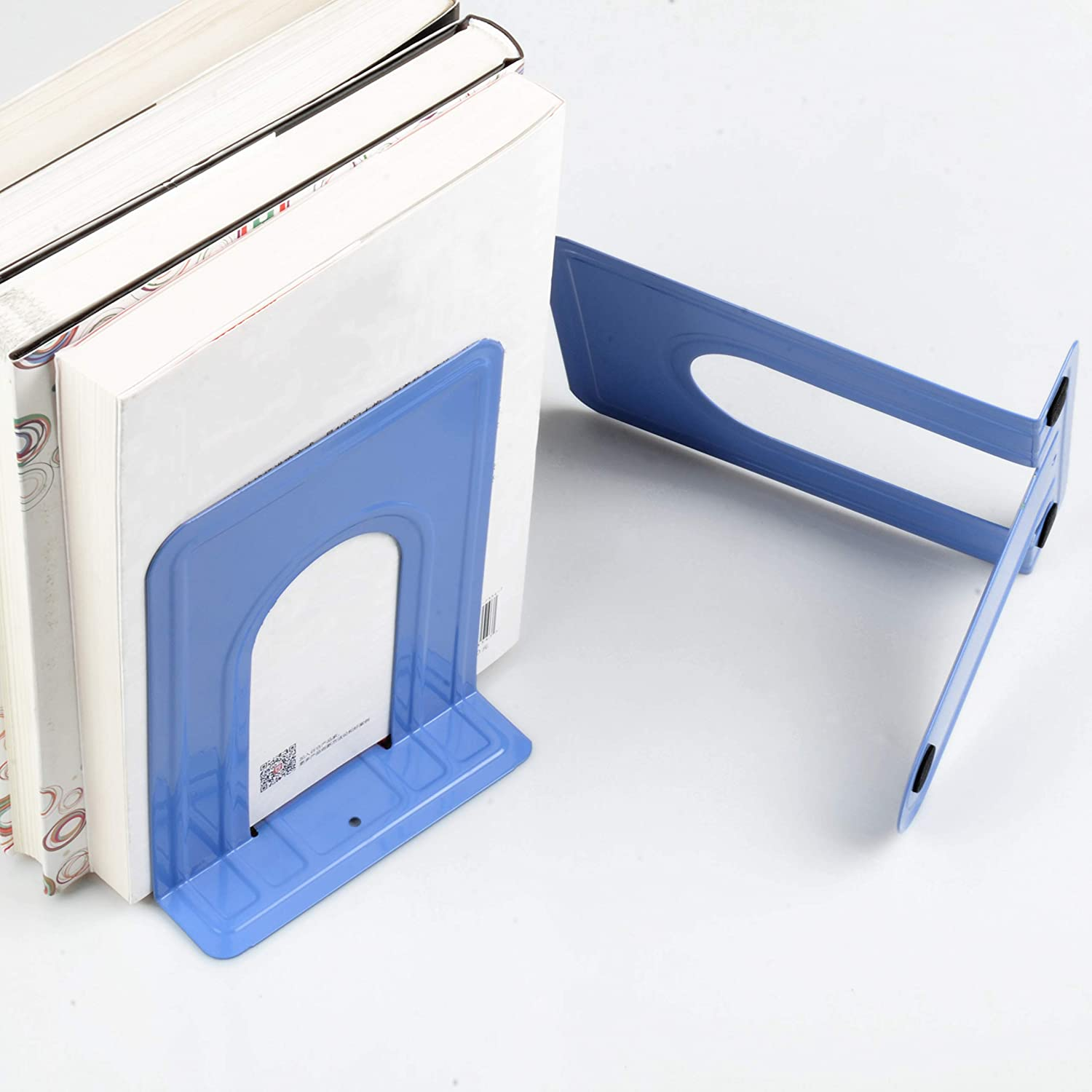 6 x 5 x 6 Inches,10 Pieces Nonskid Metal Bookend Supports for Shelves Office Book Stopper Heavy Duty Books End Blue 5 Pairs Bookends