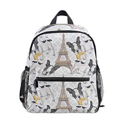 KUWT Paris Eiffel Tower French Bulldog Backpack Kids Toddler Child School Bag for Preschool Kindergarten Boy Girls: Computers & Accessories