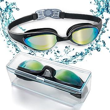39943732b1 Lunettes de natation, lunettes de natation avec pont de nez doux flexible  et lentilles miroir