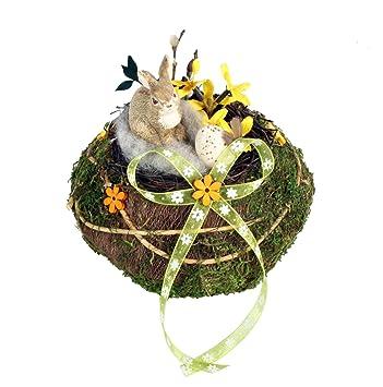 Osternest Naturmaterialien Deko Mit Hasen U. Blüten Schleife Eier  Frühlingsdeko 17 Cm