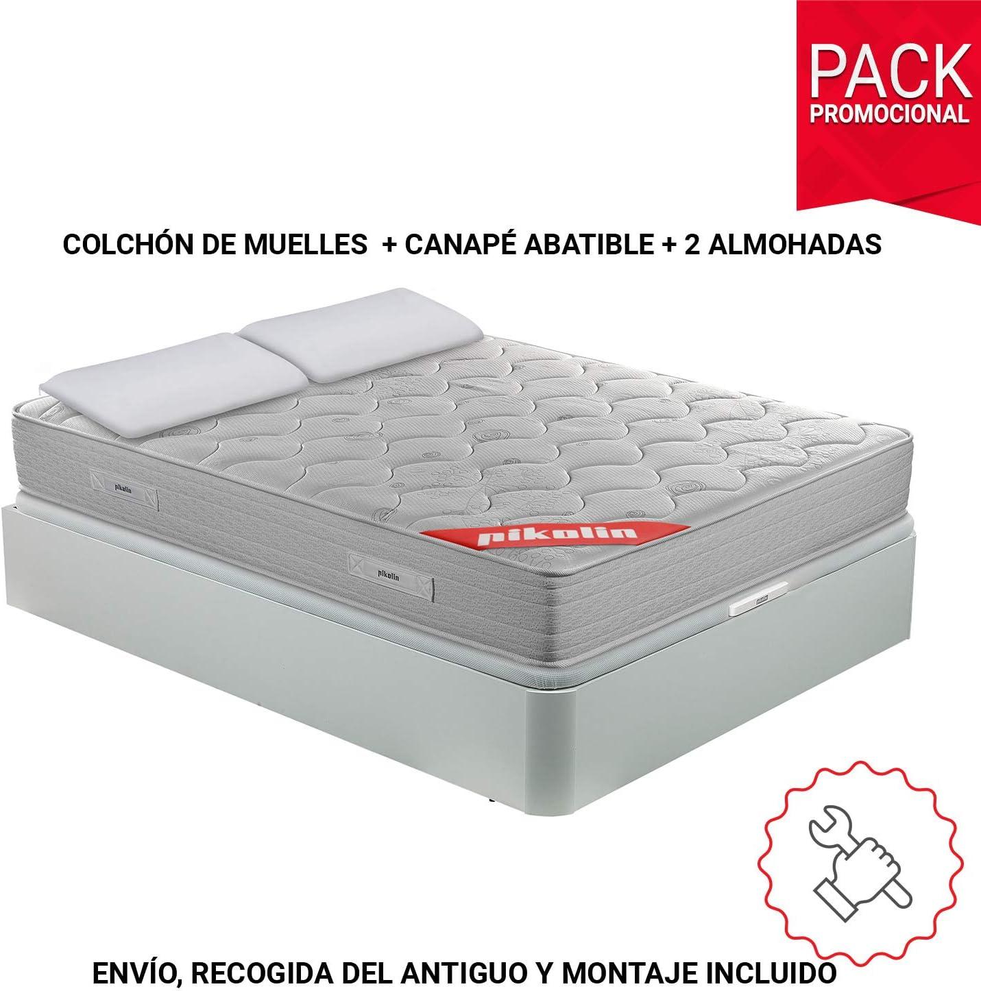 PIKOLIN Pack Colchón viscoelástico de muelles 135x190+ canapé con Base abatible Blanco y Dos Almohadas de Fibra: Amazon.es: Hogar