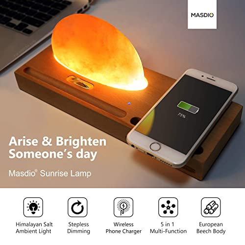 Masdio Sunrise Himalayan Salt Lamp, Ambient Lamp Meditation Lamp with Himalayan Salt, Wireless Charger, Sound Amplifier, Pen Cell Phone Holder Himalayan Salt