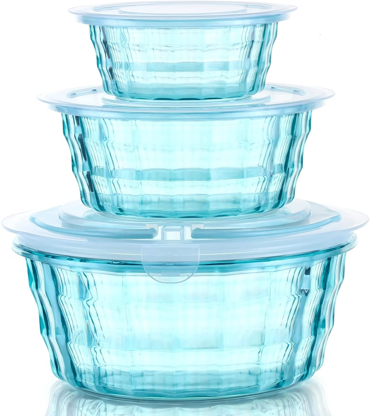 Pomeat Food Storage Containers Set, 3 Piece Plastic Round Food Containers with Lids, Mixing Bowl BPA-Free Stackable and Nesting Storage Containers for Food, Meat, Fruit, Salad, Vegetables