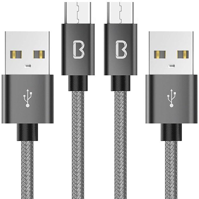 124 opinioni per Beikell Cavo Micro USB, [2 Pezzi 6.6ft / 2M] Nylon Intrecciato Cavo USB Micro