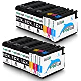 FreeSUB 12 Pack Replacement for HP 932XL 933XL Ink Cartridges,High Yield 2 Set+4 Black Used For HP Officejet 7612 6700 6100 6600 7610 7110 7510 Printer